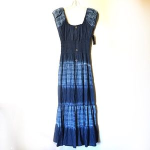 Anthropologie Lapis Denim maxi prairie dress M